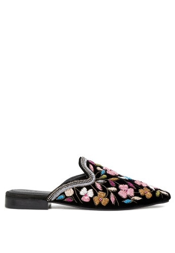 Rag & CO. 黑色 女士黑色天鹅绒刺绣平底拖鞋 97F97SH8C077B2GS_1