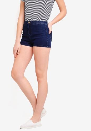ZALORA BASICS blue Basic High Waisted Denim Shorts E5819AA9CE1708GS_1