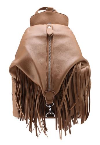 Unisa brown Fringe Backpack UN821AC0SIMRMY_1