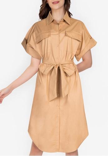 ZALORA WORK brown Oversized Shirt Dress D3B7DAAFCA9C93GS_1