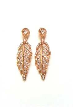Glamour Crystal Leaf Earrings