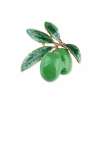 Glamorousky silver Fashion Creative Plated Gold Enamel Green Cherry Brooch 4B54BAC41B5831GS_1