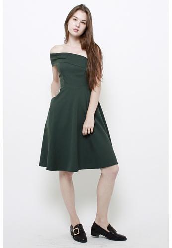 QLOTHE green Natalie One Shoulder Toga Dress 1932FAA3B466BEGS_1