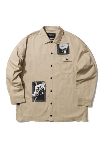 Fivecm beige Patch print shirt jacket 6BEAAAA0DBB8BFGS_1