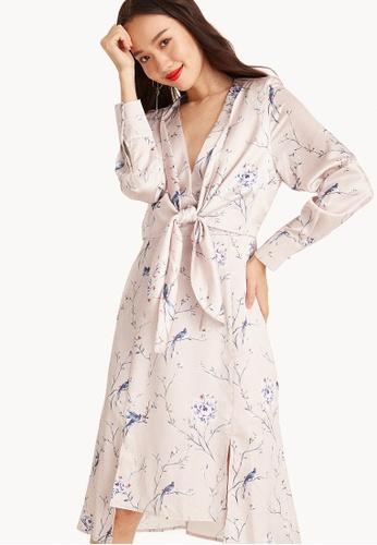 Pomelo pink Akane Midi Floral Kimono Dress 2A61BAA4AB42C7GS_1
