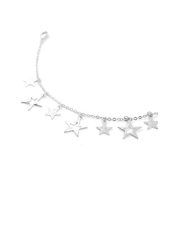 Glamorousky silver Anklet with Silver Star Charms 014B1AC47AF30FGS_1