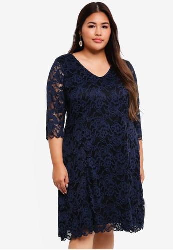 Junarose black and navy Plus Size Emma Above Knee Dress 0FB49AAAB17E03GS_1