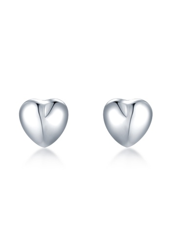 MaBelle silver 14K White Gold Heart Stud Earrings EC24EACDAA8F78GS_1