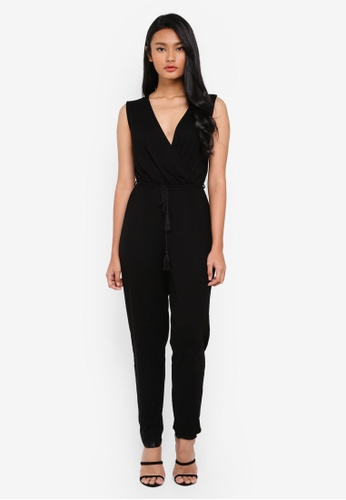Dorothy Perkins black Jersey Wrap Jumpsuit BBD58AABC26F23GS_1