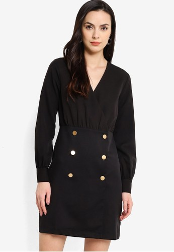 ZALORA WORK black Military Buttons Wrap Dress BED37AA8CB3CA2GS_1