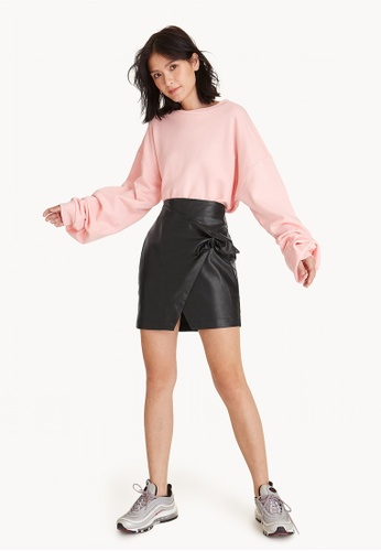 18d7e9735b31 Buy Pomelo Faux Leather Accent Mini Skirt Online on ZALORA Singapore