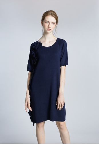 KLAPS navy Solid Tone Midi Knitted Dress with Ruffles Details 0B3F9AA90AF505GS_1