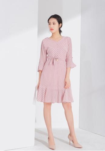 Zafiti pink Flare Sleeves Dress BC912AAD657D9FGS_1