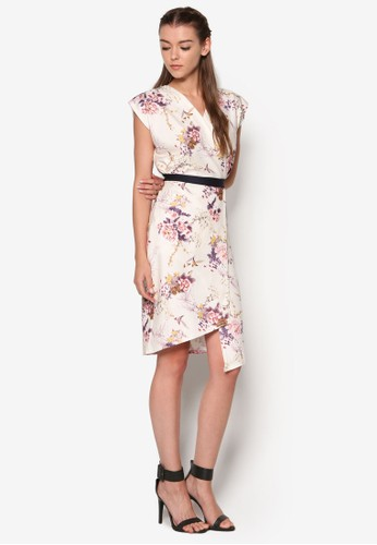 撞色腰帶裹飾印花連身裙, esprit旗艦店韓系時尚, 梳妝