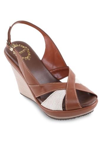 雙色交叉踝帶帶楔形涼鞋、 女鞋、 鞋AlfioRaldo雙色交叉踝帶帶楔形涼鞋最新折價