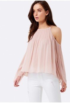 Cara Pleated Cold Shoulder Blouse