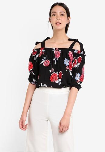 Dorothy Perkins black Black Floral Tie Cold-Shoulder DO816AA20GVFMY_1