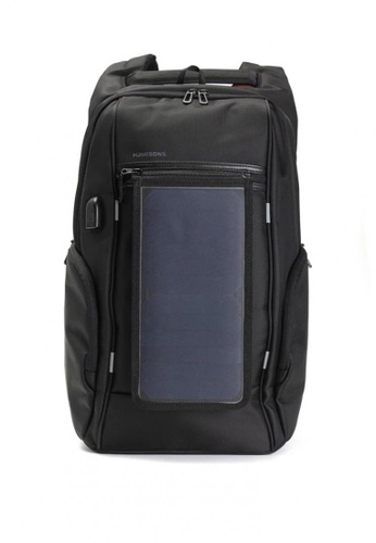"All Things New black KINGSONS 15.6"" Laptop Backpack with Solar Panel Powerbank B5BACAC1372F60GS_1"