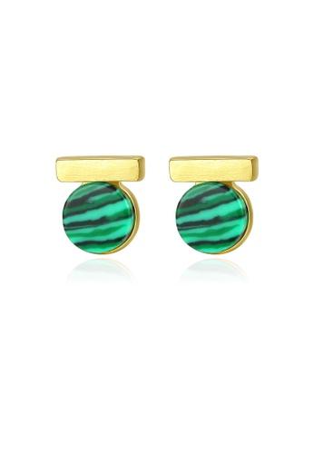 SUNRAIS gold High quality Silver S925 gold simple design earrings 5FE76AC3F4A5A0GS_1