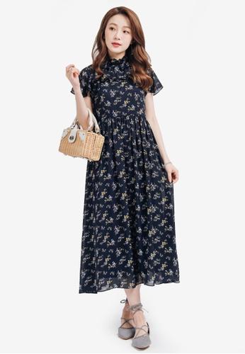 YOCO navy Ruffled Floral Maxi Dress 2B906AAD8E265EGS_1