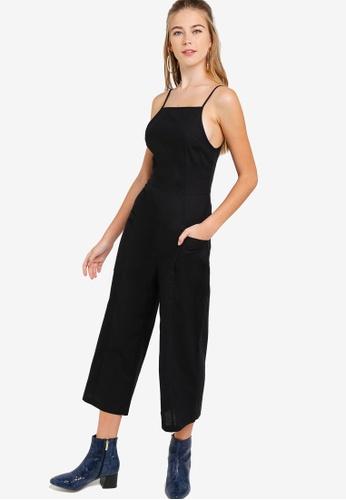 Something Borrowed black Cami Culottes Jumpsuit 2CECCAAE67C6D0GS_1