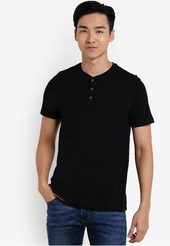 Burton Menswear London black Black Short Sleeve Grandad T-Shirt BU964AA56UHVMY_1
