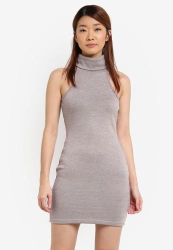 Something Borrowed grey Rolled Neck Cut-in Bodycon Dress EA384AA6383AF4GS_1