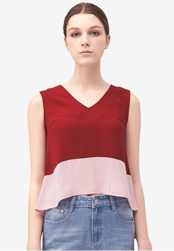 Kodz red Colour Block V-Neck Vest E7F42AAA463984GS_1