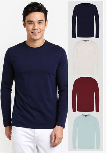 ZALORA white and red and green and navy 4 PACK COTTON CREW NECK LONG SLEEVE TEE ZA819AA0T27KMY_1