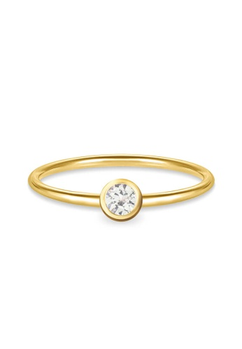 Aquae Jewels yellow Ring My BirthStone White Sapphire – April, 18K Gold - Yellow Gold 9F47FAC7D62B1DGS_1