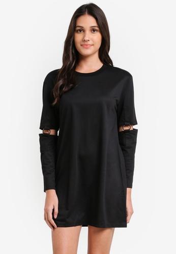 Something Borrowed black Ring Detail Shift Dress 2A18EAA9B7E37DGS_1