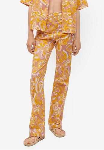 Mango yellow Printed Cotton Trousers 233D6AA31B9295GS_1