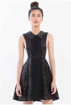 {PRE-ORDER] Sequined Babydoll dress with leatherette collar.