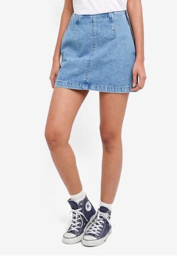 TOPSHOP blue Petite Side Stripe Denim Skirt 23075AAB830008GS_1