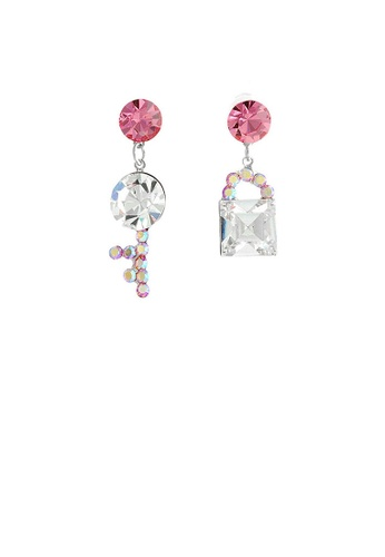 Glamorousky silver Dazzling Key and Lock Earrings with Peach and Silver Austrian Element Crystals and CZ Beads F4262AC3A142F8GS_1