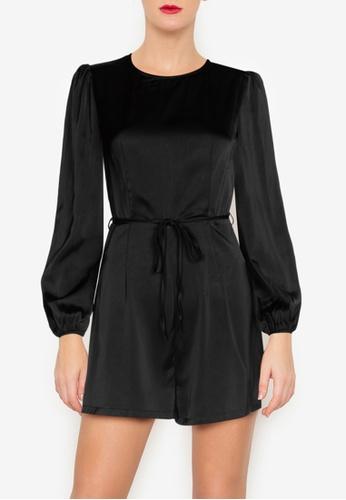 ZALORA OCCASION 黑色 綢緞公主袖連身短褲 6E222AAB1999DFGS_1