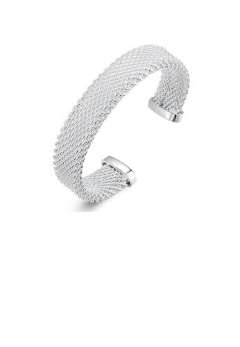 Glamorousky silver Fashion Simple Geometric Woven Wide Bangle 47E50AC3C623D3GS_1