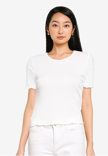 KOTON white Shirred T-Shirt BED4BAA13CF213GS_1