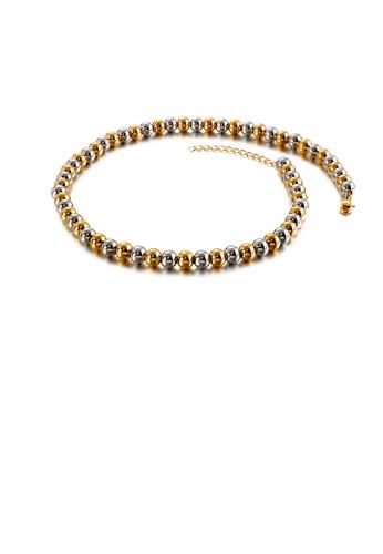 Glamorousky 銀色 時尚簡約雙色幾何圓珠316L鋼項鏈 2D199AC516FB01GS_1