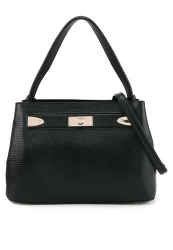 HUER black Yolia Embossed Hobo Bag CB790AC5DF0B79GS_1