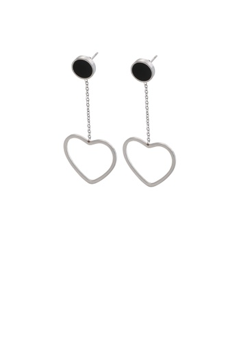 Glamorousky silver Simple and Sweet Hollow Heart-shaped Tassel 316L Stainless Steel Earrings 4A7AEAC4DFDDC5GS_1