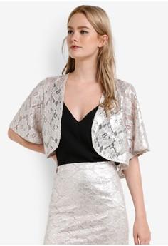 【ZALORA】 Premium 蕾絲開襟短版外套