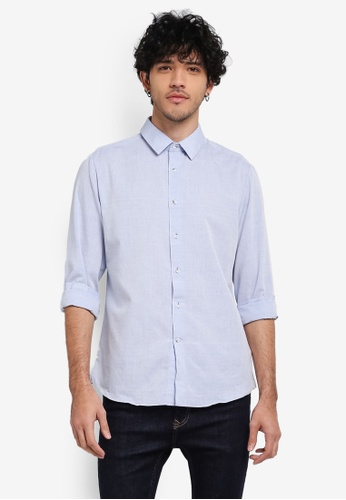 Topman blue Long Sleeve Blue Slub Shirt TO413AA0SR9LMY_1