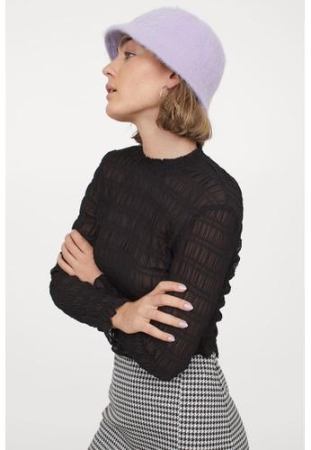 H&M black Smocked Chiffon Top 6EEDEAA56EDC76GS_1