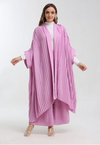 KASHKHA pink Embellished pleated coat FE91FAAD191CA1GS_1