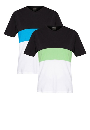 Nukleus green and blue and multi V Neck 3 Tier Multipack Tee NU951AA78AFXMY_1