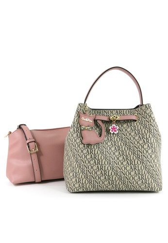 Carlo Rino beige Carlo Rino Pink Kitty Charmed Monogrammed Top Handle with Removable Interior 4DE2EAC940584DGS_1