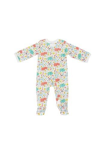 Baby Lovett white Nature Safari Two-Way Zipper Suit with Footies BC69BKA7D52634GS_1