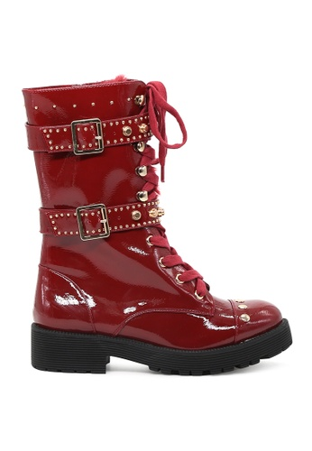 London Rag red Burgundy Lace Up Long Ankle Boots SH1527 455C4SH55DCE66GS_1