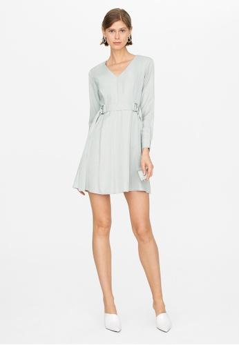 Pomelo blue Mini V Neck Belted Dress - Mint E9EB8AAF7CAF0EGS_1